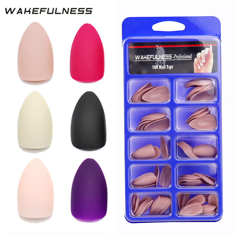 100pc Matte False Nail Tips Full Cover Press On Nails Rose Red Black Nude Pink White No adhesive Stiletto Artificial Nail Tips
