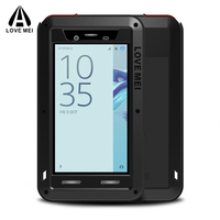 Love mei FOR SONY Xperia X Compact Case Aluminum Waterproof Shockproof +Gorilla Glass Armor Cover FOR SONY X Compact Case Metal