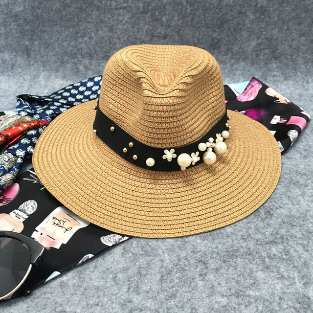2016 New Necessary Travel South New Summer Women Hats Flower Female Fashion Cap Casual Pearl Beach Hat Wholesale Solid Straw Hat