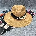 2016 Nuevo Recorrido Necesario Sur Nuevas Mujeres Sombreros de Flores Pearl Beach Sombrero femenino Casquillo de La Manera Ocasional Sólido Al Por Mayor de Paja sombrero