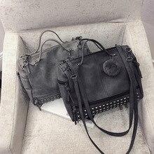 Кожаная женская сумка с ручкой сверху, с заклепками, большие женские сумки, сумка на плечо, мотоциклетная сумка-мессенджер, винтажная сумка из нубука