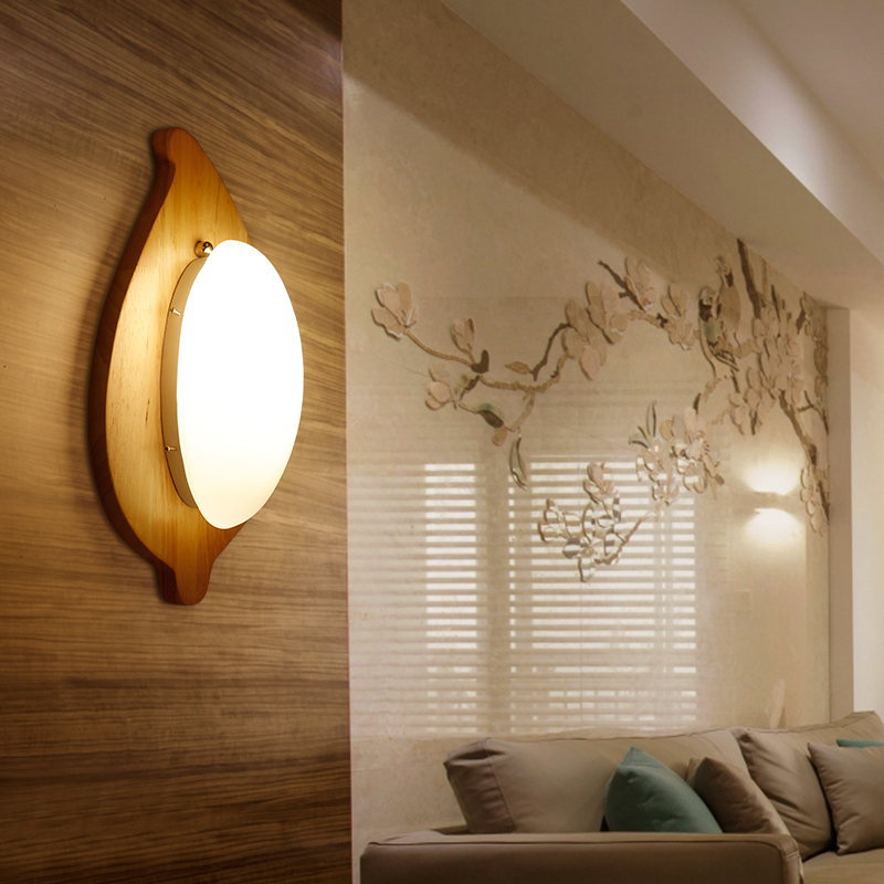 Bedside Wooden wall lamp balcony solid wood+glass aisle wall Lights lighting Modern wall Sconce Lights aplique de la pared modern bedside lamp wall light minimalist fabric shade wall sconces lighting fixture for balcony aisle hallway wall lamp wl214