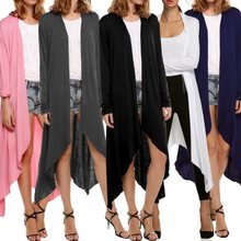 Summer Women's Coat Solid Slim Long Cardigan Open Front Trench Coats Long Sleeve