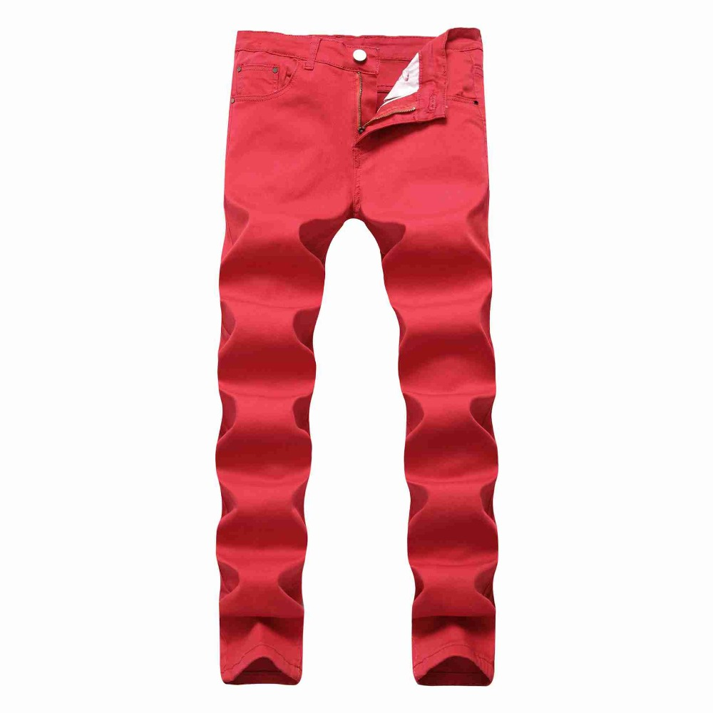 #2117 2018 Men jeans Black/Red/White jean homme Stretch Straight Casual Cotton Slim jeans masculino Pencil jeans for men