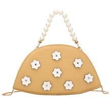 Women Floral Portable Bag Dumpling Shape Sac Female Flap Handbag Girls Crossbody Bags Ladies Pearl Handle Chains Shoulder Bag J3