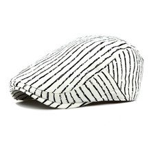 Spring Summer Sun Cap Hats For Men Women Striped Cotton Bere
