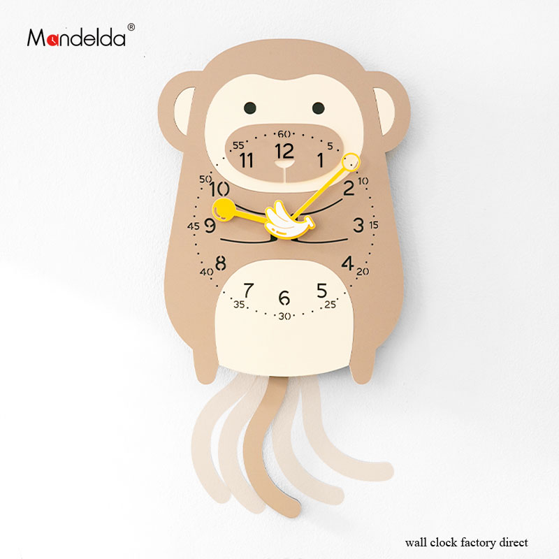 Lovely Monkey Clock Watch Wall Clock Diy Home Decoration Kids Cartoon Creative Animal Swing Wooden Clocks For Sale