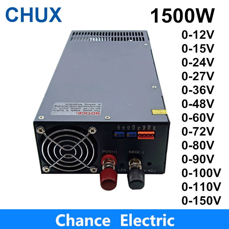 1500W Schalt Netzteil 0-12V Einstellbare Ausgangs 15V 24V 36V 48V 60V 72V 80V 90V 100V 110V AC zu DC Schalt Netzteil