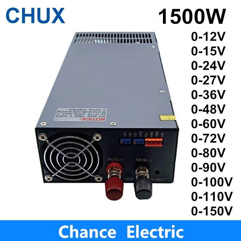 1500W alimentation à découpage 0-12V sortie réglable 15V 24V 36V 48V 60V 72V 80V 90V 100V 110V AC à DC alimentation à découpage