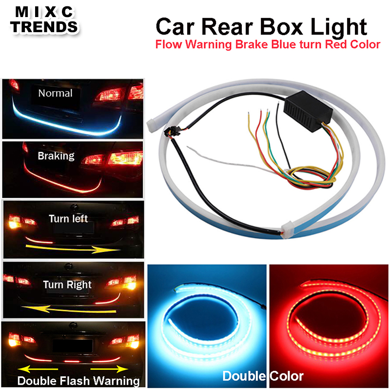 NEW Arrival 120cm 47inch Flexible Strips Car Rear Tail Box Light Dynamic Streamer Brake Turn Signal Led Warning Trunk Lamp Bar