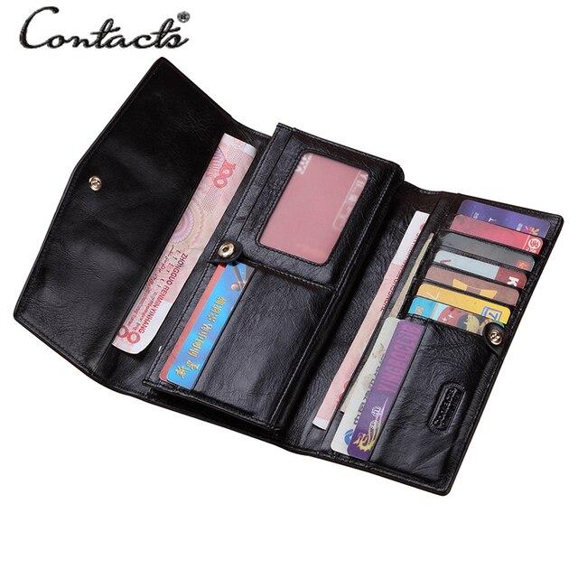 Damski skórzany portfel CONTACTS 3 różne kolory