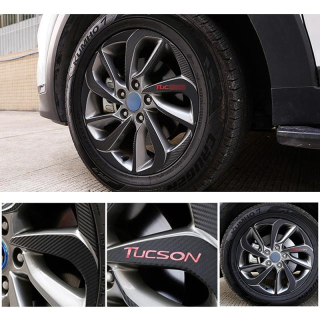 Black carbon fiber texture vinyl wheel hub decal sticker for 2015 2016 hyundai tucson accessories car