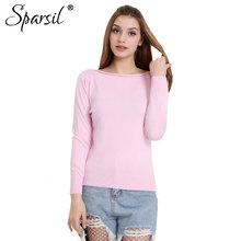 Sparsil Women Winter Cashmere Sweater Female Long Sleeve Knitted Sweaters Pullovers Female Slash Neck Tops High