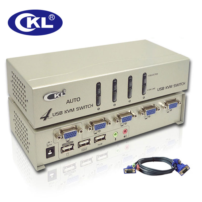 CKL 4 Port USB VGA KVM Switch Support Audio & Auto Scan with Cables KVM Switcher for Keyboard Video Mouse CKL-84UA mouse keyboard penetrator file data sharer clipboard sharing 1 km set control 2 host pc linker kvm switch without vga usb gadget