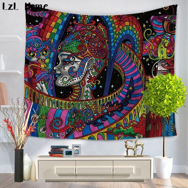 LzL Psychedelic Rumah Rumit Floral Desain Agama Digital Printing Wall Hanging Permadani Seprai Yoga Tikar Selendang Tapete