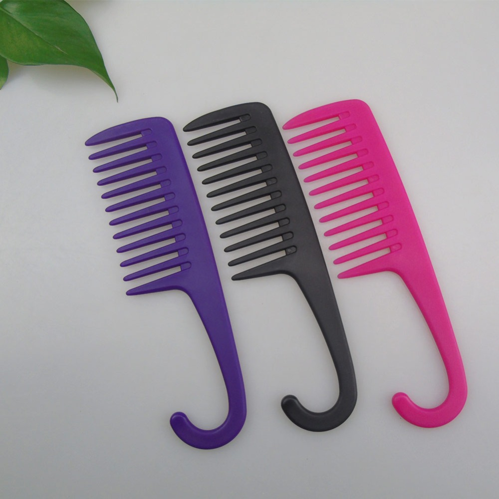Купить с кэшбэком Professional Hair Cutting Teeth Wide Tooth Comb with Curved Hairbrush Hook ABS Plastic Heat-resistant For Hair Styling Tool