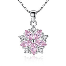 TJP New Top Quality 925 Sterling Silver Necklace For Women Party Accessories Female Fashion Crystal Flower Pendants Hot