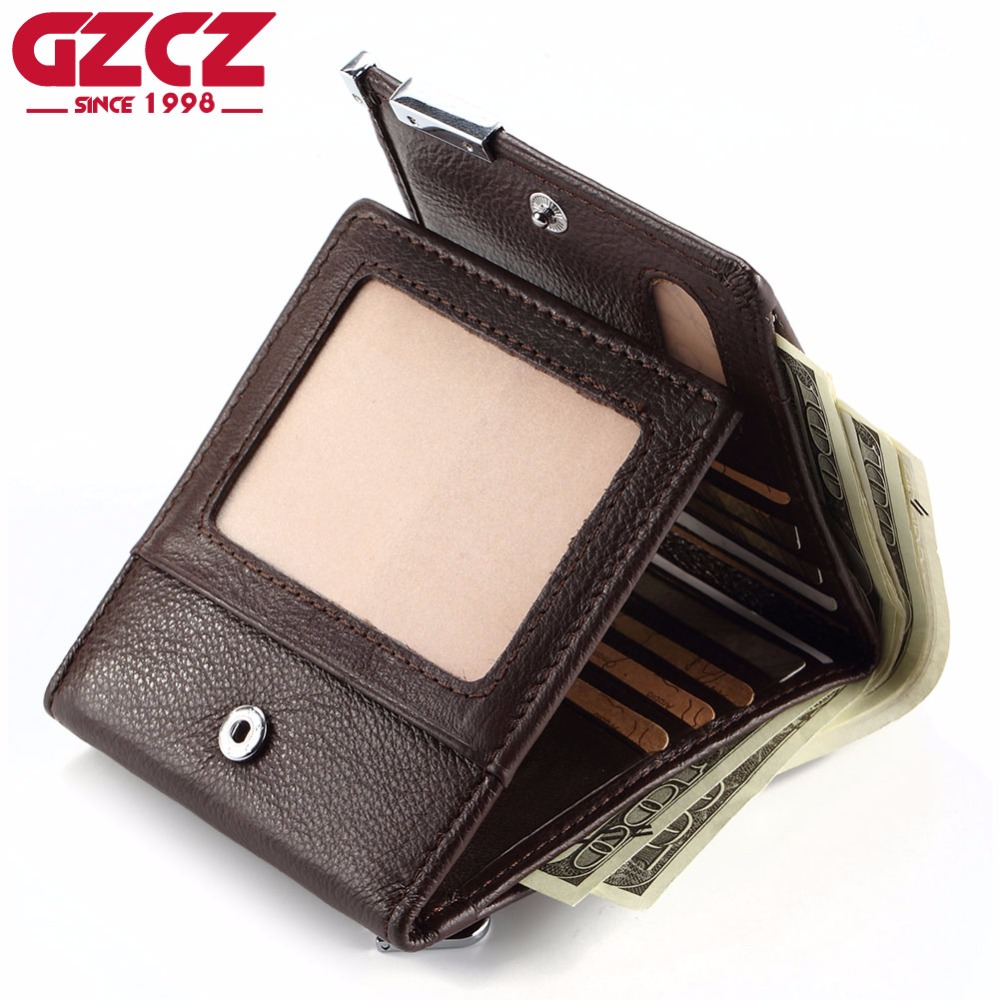 GZCZ Brand Genuine Leather Men Wallet Fashion Coin Purse Pocket Trifold Zipper Design Large Capacity PORTFOLIO MAN Male Walet