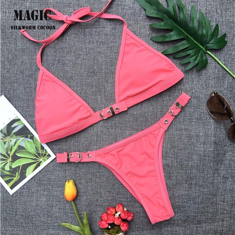 Solid color sexy micro bikini two-piece suit chest adjustable lock design swimsuit bikini red blue swimmwear women swimsuit New