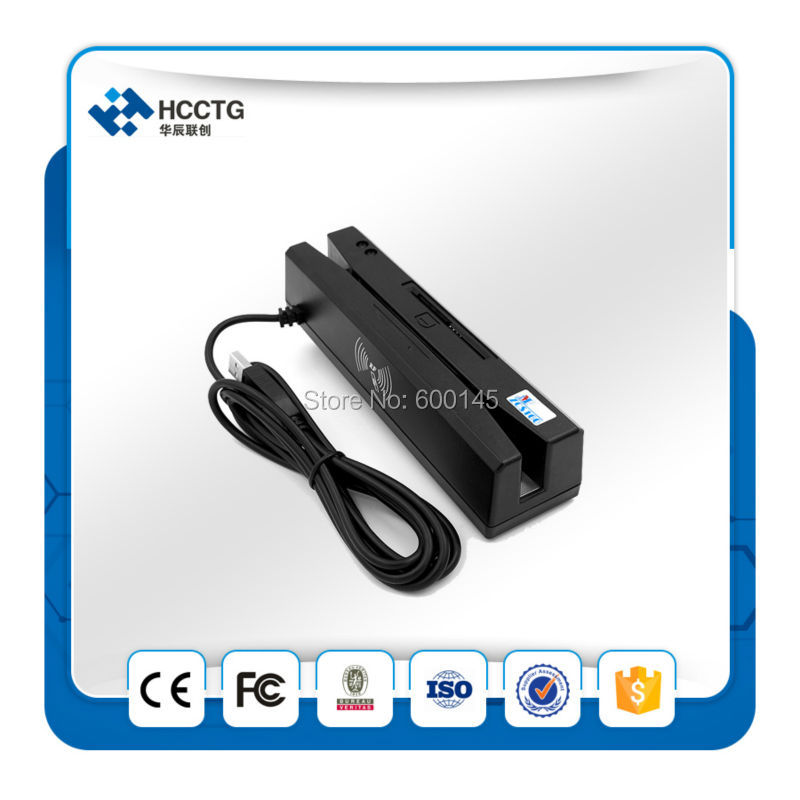 Lecteur de bande magnétique USB 3 pistes + lecteur de carte à puce + lecteur de carte RFID avec SDK gratuit-HCC110