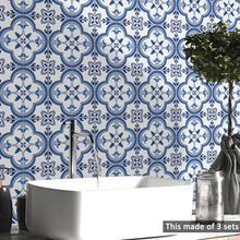 Waterproof High Quality Portuguese Blue Pattern Bathroom Kitchen Living Room Home Decor Tiles Wall Stickers Waist Line Wallpaper