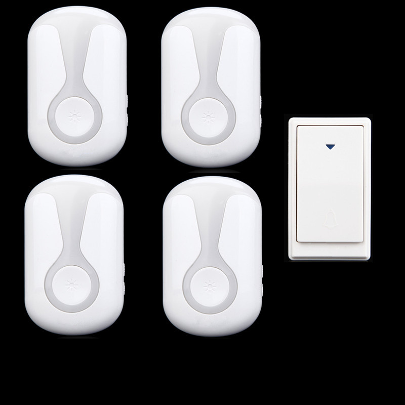 ФОТО 36 Tunes Wireless Cordless Doorbell Remote Door Bell Chime,1 Button and 4 Receivers,No need battery,Waterproof, EU/US/UK Plug