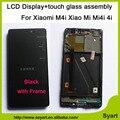 Высокое качество Горячей Продажи Черный 5.0 дюймов ЖК-Дисплей + Сенсорный Экран Планшета Planel Стекло в Сборе с рамкой Для Xiaomi 4i Mi4i M4i