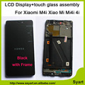 High quality Hot Sale Black 5.0inch LCD Display+Touch Screen Digitizer Planel Glass Assembly with frame For Xiaomi 4i Mi4i M4i