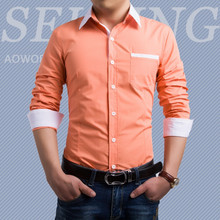Brand New Men's Casual Shirt Social Solid Candy Color Shirt Full Sleeve Turn Down Collar
