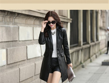women jacket women winter coat Autumn and winter fashion Slim Korean long section of black pu leather jacket coat free shipping