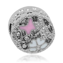 Free Shipping 1PC Silver European Pink Enamel Butterfly Charms fit Pandora Charm Bracelets & Bangles(China)