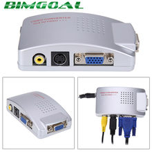 PC Ke TV Adaptor VGA TO AV RCA TV Monitor S-Video Adaptor Konverter Sinyal Switch Box PC Laptop(China)