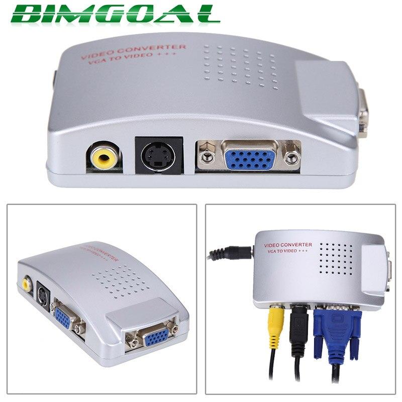 PC TO TV Adapter VGA to AV RCA TV Monitor S-Video Signal Converter Adapter Switch Box PC Laptop