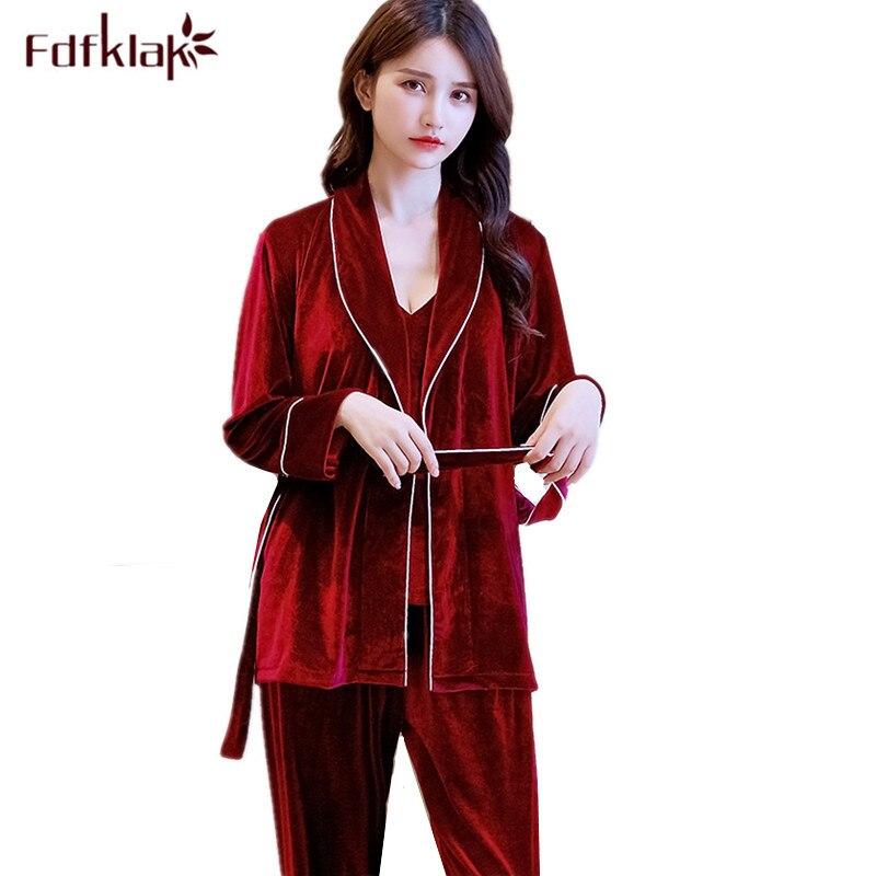 3 pieces sleepwear set long sleeve autumn winter pajamas for women gold velvet pijamas sets warm home clothes fashion pyjama set