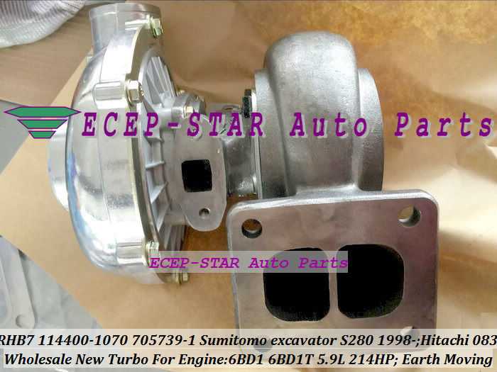 RHB7 114400-1070 705739-5001S Turbo Turbocharger For Sumitomo excavator S280 1998- Earth Moving 6BD1 6BD1T 5.9L 214HP (2)