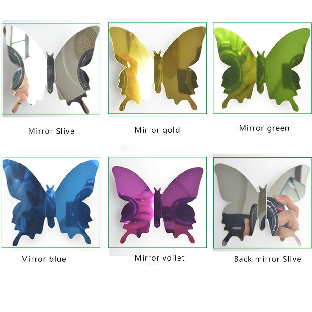 Ishowtienda Wall-Stickers Mirror Decoration Butterfly Silver Home-Room 12pcs Art DIY
