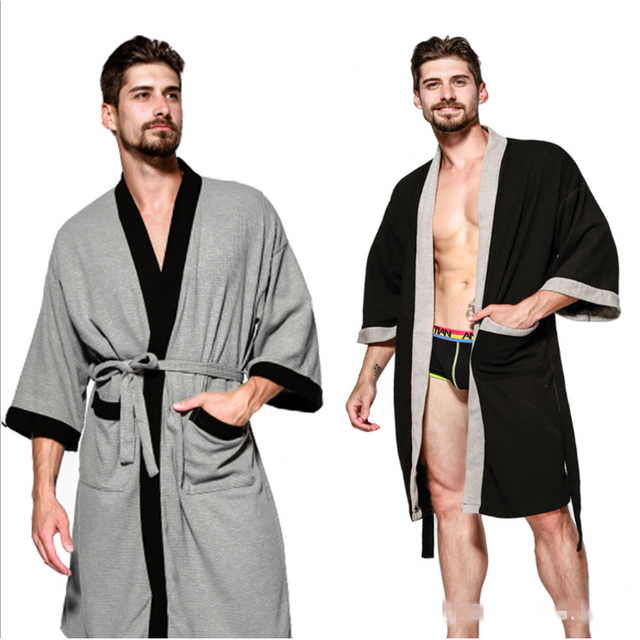 2018 г. Осенняя брендовая пижамы халат Для мужчин 100% хлопок халаты Для мужчин с длинным рукавом халат мужской лоскутное цветовой контраст халат Большие размеры