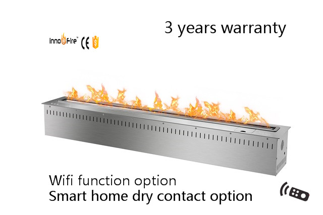 48 Inch Remote Control Intelligent Silver  Or Black Stainless Steel Ethanol Wall Mount Electric Fireplace