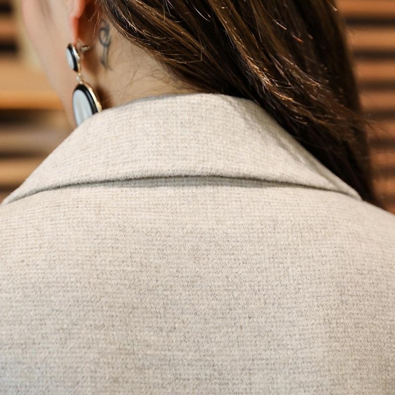 Nouvelle Version Femelle Genoux brown Laine Long Coréenne Et Mince En gris Népal Manteau Cachemire La Beige De Mouton face Automne Hiver Double EAwqB6B