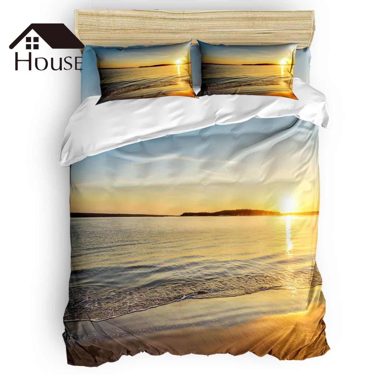 BIGHOUSES Bettbezug set Sunset meer landschaft strand wasser horizon natur landschaft Duvet Abdeckung 4 Stück Bettwäsche Set