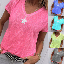 Oufisun Summer Star Print Women's T-shirt New Casual V-neck Short Sleeve Ladies Thin T-shi