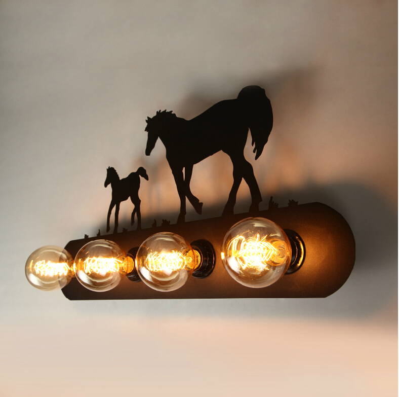 Free Shipping Country Retro Wall Lamps 4 Lights Edison Bulbs Wall light Wall Sconce Black Painting Bed Living Room Lighting free shipping retro vintage wall light punk wall light edison bulbs metal black painting ceiling light for living room loft lamp