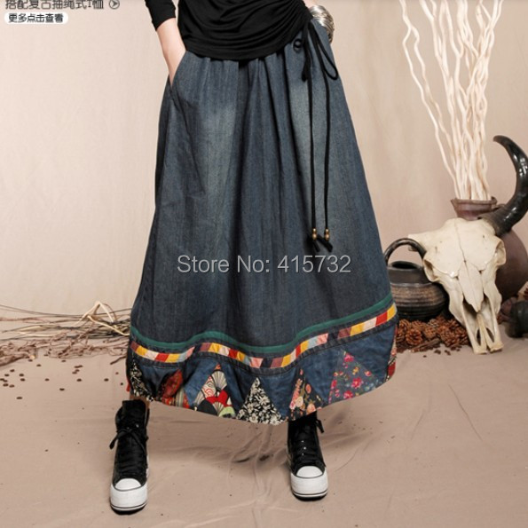 Envío Libre 2017 de Moda de Estilo Chino Largo Maxi Una Línea de Cintura Elástica Más El Tamaño Floral Print Denim Jeans Mujeres de la Falda Del Remiendo