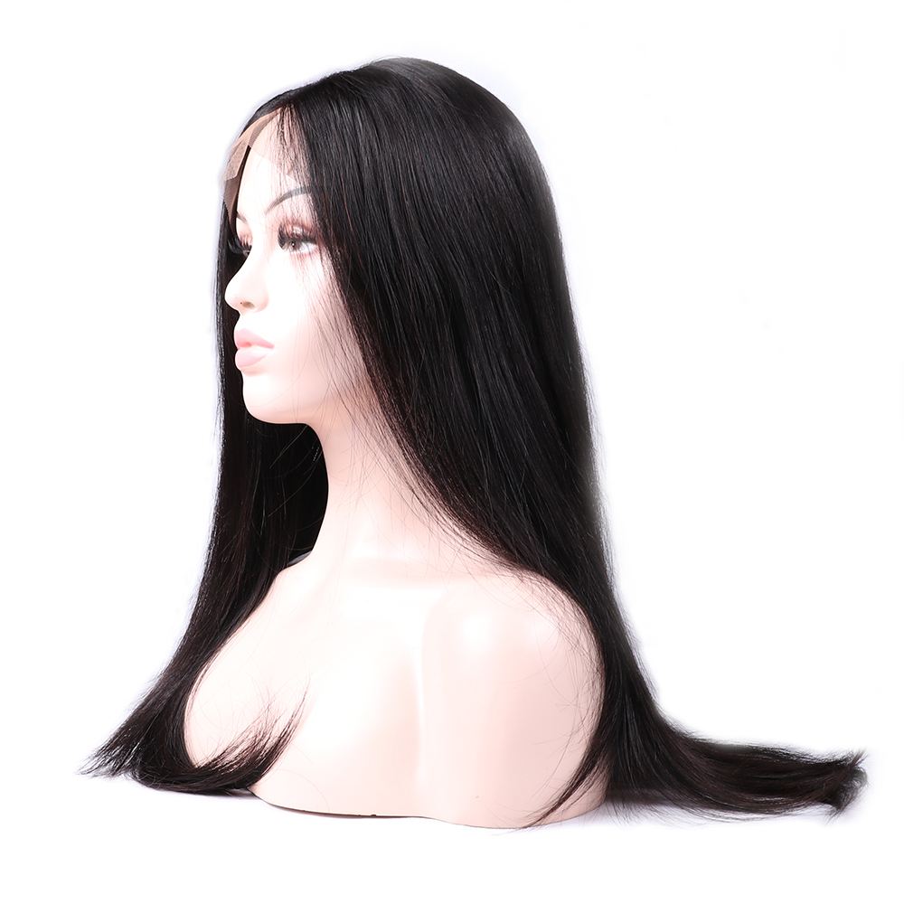 UEENLY Wigs Straight-Wig Human-Hair Lace-Front Peruvian Black Women for with Baby Hair-4x13/lace