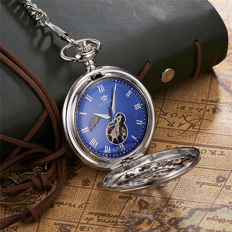 Skeleton Pocket Gold Mechanical Watch Men Vintage Pendant Steampunk Watch Necklace Chain Antique Fob Watches Relogio bolso