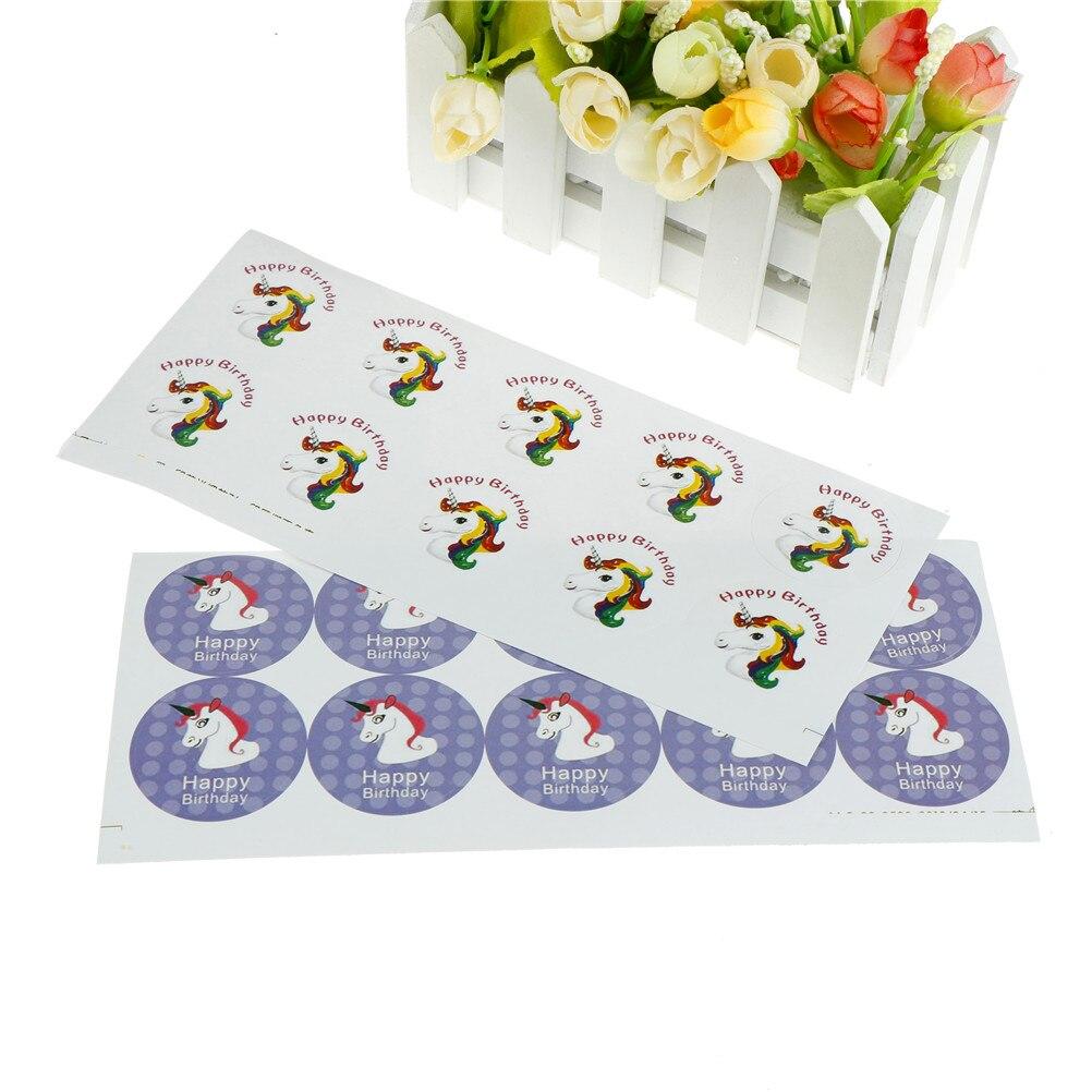 60 Pcs/6 Vellen Diy Geschenken Sticker Eenhoorn Gelukkige Verjaardag Diy Dagboek Sticker Scrapbooking Kleverige Briefpapier Schoolbenodigdheden Elegant En Sierlijk