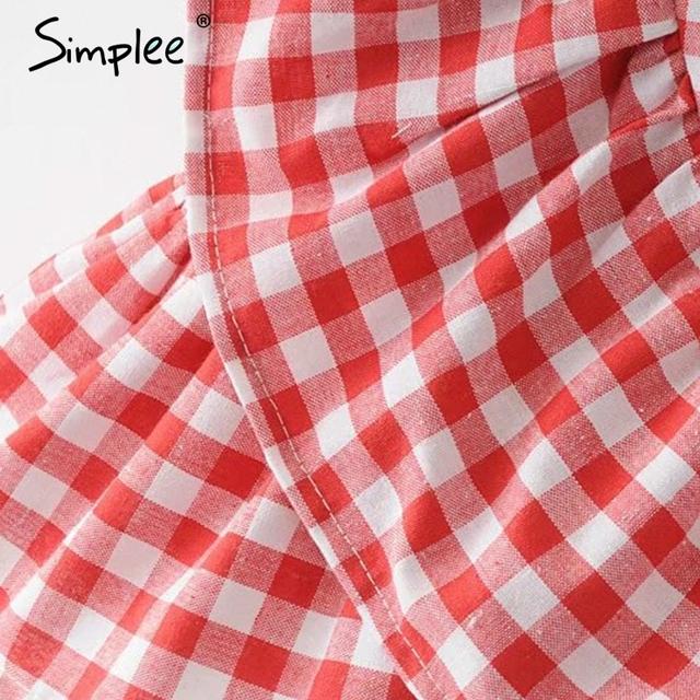 Simplee Short bow zipper chic plaid A-line skirt female Ruffle high waist skirts womens bottom Vintage mini skirt summer beach