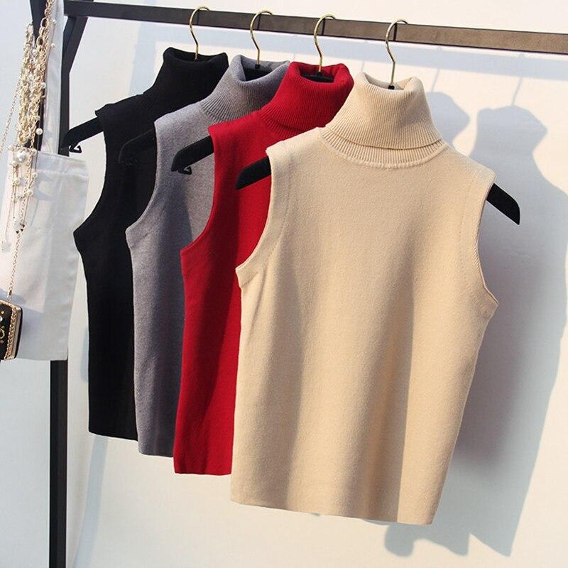 GIGIGO Knitted Women Sweater Spring Autumn Turtleneck Sleeveless Vest Outwear Female Top Pullover Pull Femme