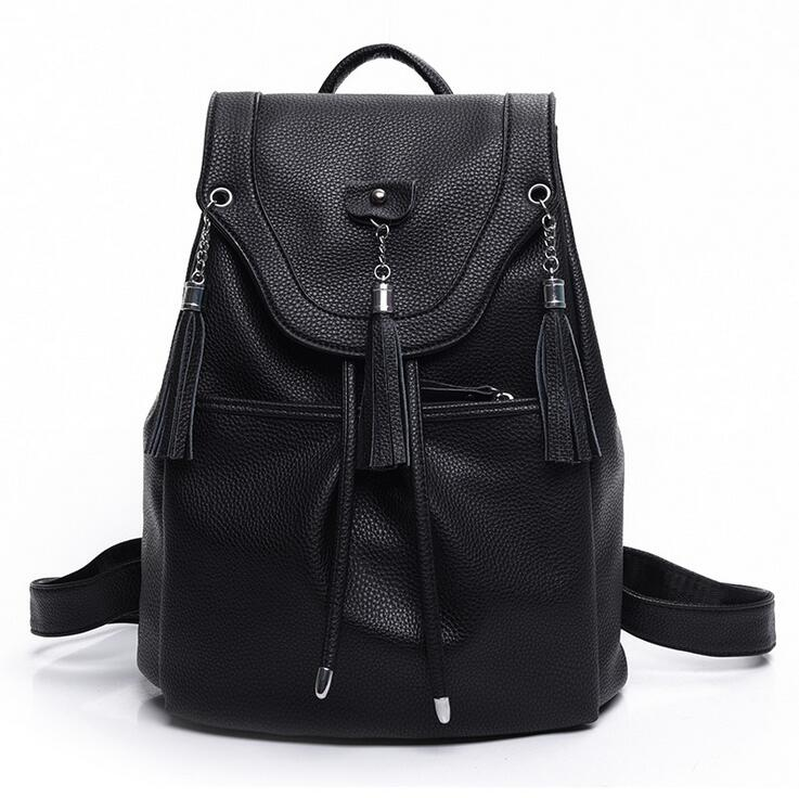 stacy bag 081716 hot sale lady fashion PU leather backpack female tassel travel bag