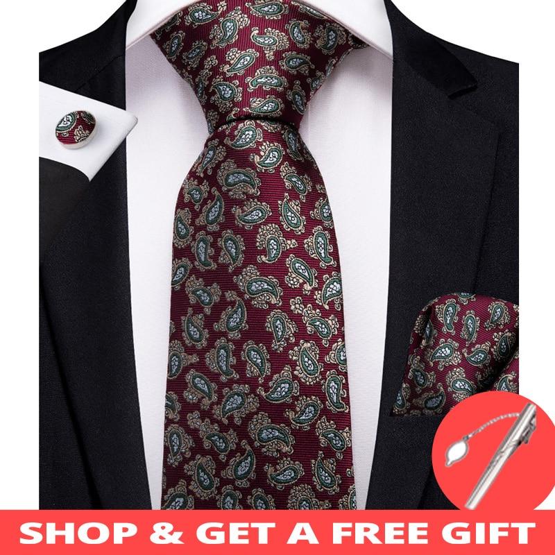 2019 DiBanGu New Red Paisley Men Gifts Tie Clip 100% Silk Neck Ties Hanky Cufflinks Tie Wedding Business Party Tie Set MJ-7207